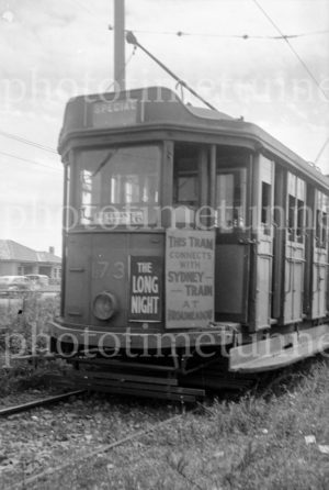 Tram with railway station connection sign, Newcastle, NSW, 24-1-1948.