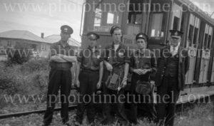 Tram crew on the Racecourse line, Broadmeadow, (Newcastle, NSW), 24-1-1948.