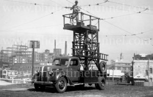 Tower wagon for repairing overhead tram powerlines, Newcastle East, NSW, 11-3-1947.