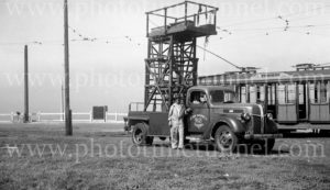 Tower wagon for repairing overhead tram powerlines, Newcastle East, NSW, 11-3-1947. (2)