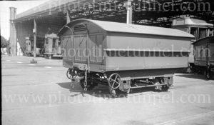 Hearse trailer for Newcastle trams at Hamilton depot, 6-3-1947.