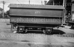 Hearse trailer for Newcastle trams at Hamilton depot, 6-3-1947. (2)