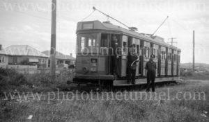 Tram crew on the Racecourse line, Broadmeadow, (Newcastle, NSW), 24-1-1948. (2)