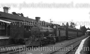 Locomotive at Deloraine Station, Tasmania, January 3, 1937.