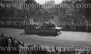 """""""Vacation in Newcastle"""" float in a Sydney procession, April 22, 1933."""