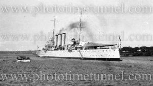 Heavy cruiser HMAS Australia (II) in Sydney Harbour, 1930s.