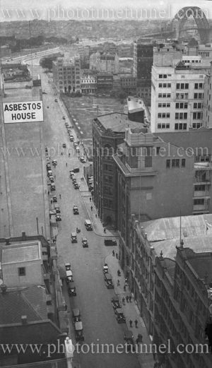Elevated view of Sydney showing Asbestos House and Harbour Bridge, November 19, 1932