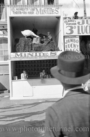 """""""Minties"""" stand at Sydney Royal Easter Show, circa 1930s."""
