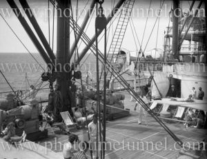 Second Class sports deck aboard RMS Orford en route from Sydney to Tasmania, January 2, 1937. (2)