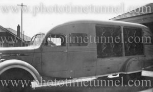 Emergency vehicle at Boolaroo mines rescue station, NSW, circa 1940s.