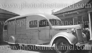 Emergency vehicle at Boolaroo mines rescue station, NSW, circa 1940s. (2)