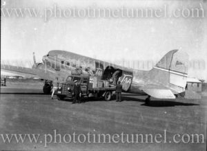 Trans Australia Airlines DC3 aircraft at Williamtown (Newcastle, NSW) circa 1940s.