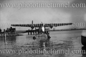 Short Scion seaplane on Newcastle Harbour, NSW, July 1935.