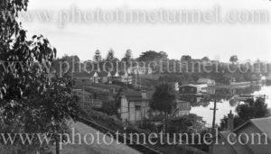 Foreshore at Toronto, Lake Macquarie, NSW, showing the railway line. Circa 1930s