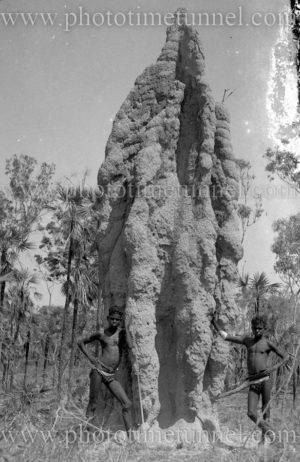 Australian Aboriginal boys next to giant termite mound, Northern Territory, circa 1930s.