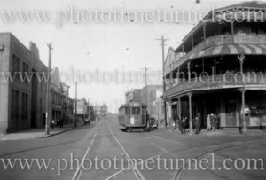 Tram near the Pacific Hotel, Newcastle East (NSW) on April 25, 1948.
