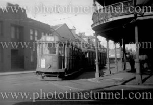 Tram near the Pacific Hotel, Newcastle East (NSW) on September 9, 1947.