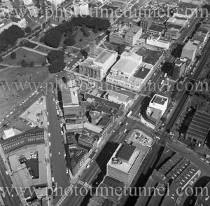 Aerial view of Newcastle Civic precinct (NSW) showing Roundhouse under construction, Civic Park and Burwood Street. 1975.