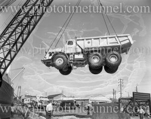 Euclid truck being unloaded from ship Middlesex, Newcastle Harbour, NSW, December 12, 1959. (5)