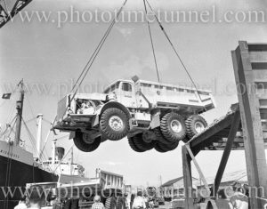Euclid truck being unloaded from ship Middlesex, Newcastle Harbour, NSW, December 12, 1959. (3)