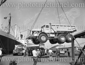 Euclid truck being unloaded from ship Middlesex, Newcastle Harbour, NSW, December 12, 1959.