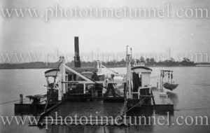 Vehicular ferry at Blackmans Point, Port Macquarie, NSW, circa 1950s. (2)