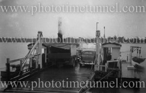 Vehicular ferry at Blackmans Point, Port Macquarie, NSW, circa 1950s.