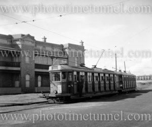 Electric tram in Telford Street, Newcastle East, NSW, April 30, 1947.