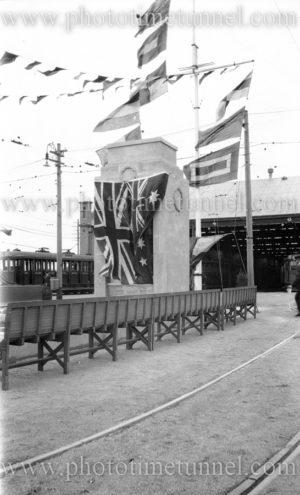 War memorial at Gordon Avenue tram depot, Hamilton (Newcastle), NSW, 1929.