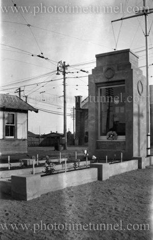War memorial at Gordon Avenue tram depot, Hamilton (Newcastle), NSW, 1929. (2)