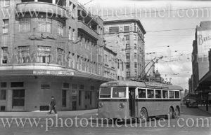 Trolley bus near the Hyde Park Hotel, Sydney, NSW, circa 1940s.