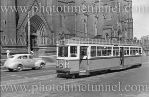 R-class tram in College Street, opposite St Marys cathedral, Sydney, NSW, March 3, 1948.