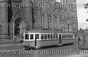 R-class tram in College Street, opposite St Marys cathedral, Sydney, NSW, March 3, 1948. (2)