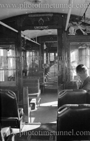 Interior view of a Sydney R-class tramcar, NSW, circa 1940s.