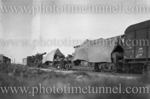 Heavy artillery on railway carriages, Germany, 1919.