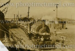 BHP industrial saddle-tank locomotive No 5 at the Newcastle steelworks wharf.