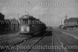 Tram in Tudor Street, Hamilton (Newcastle), NSW, April 24, 1948.