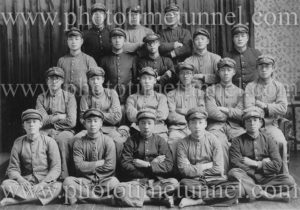 Group of 19 Japanese soldiers or cadets, circa 1930s.