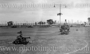 Soldiers with Vickers machine guns at Maitland Showground during Back to Maitland celebrations, November 10, 1935.