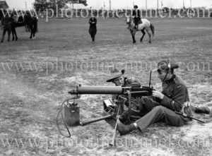 Soldiers with Vickers machine gun at Maitland Showground during Back to Maitland celebrations, November 10, 1935.