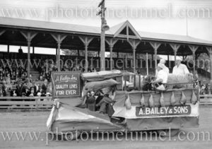 A. Bailey and Sons butchers float at Maitland Showground during Back to Maitland celebrations, November 10, 1935.