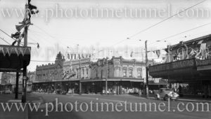 Hunter Street, Newcastle (NSW), near Union Street during 150th anniversary celebrations, September 9, 1947.