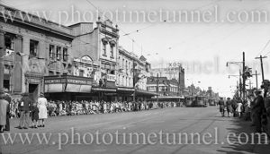 Hunter Street, Newcastle (NSW), near Krempins seed and garden shop, during 150th anniversary celebrations, September 9, 1947.