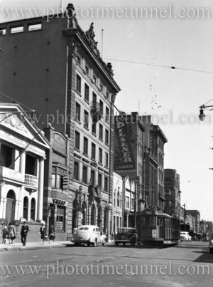 Hunter Street, Newcastle East (NSW), showing the AMP building, August 20, 1949.