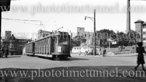 Tram in Newcastle East (NSW), near Royal Newcastle Hospital, August 20, 1949.