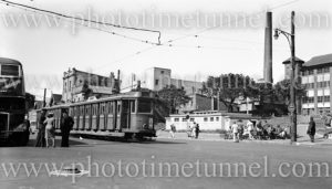 Trams and buses in Newcastle East (NSW), near Royal Newcastle Hospital, August 20, 1949.