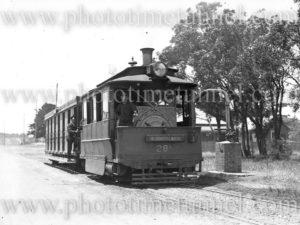 Sutherland (NSW) steam tram taking on water, circa 1930s.