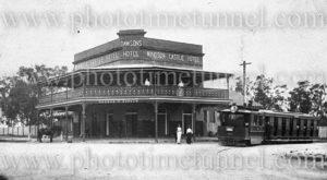 Steam tram at Dawsons Windsor Castle Hotel, East Maitland, NSW.